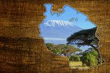 Tanzania Wildlife Map Design  Afryka Fototapeta