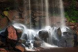 Mountain river waterfall, wet stones and silky water  Fototapety Wodospad Fototapeta