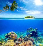 Beautiful Coral Reef on the background of a small island Rafa koralowa Fototapeta