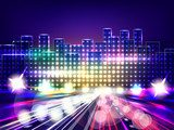 Stylized night city road. Abstract background Fototapety Neony Fototapeta