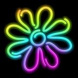 Flower Daisy Psychedelic Neon Light-Fiore Psichedelico Luminoso Fototapety Neony Fototapeta