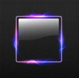 Abstract background transparent glossy button with neon lights around Neony Fototapeta