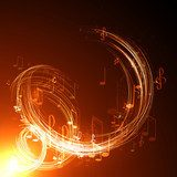 abstract  music background Neony Fototapeta
