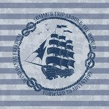 Nautical emblem with sailing ship Styl Marynistyczny Fototapeta