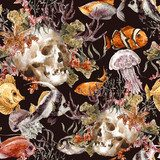 Watercolor shabby sea life seamless background with skull Styl Marynistyczny Fototapeta