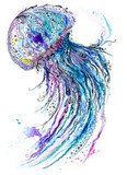 Jelly fish watercolor and ink painting Styl Marynistyczny Fototapeta