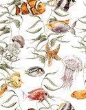 Watercolor sea life seamless pattern, underwater watercolor Styl Marynistyczny Fototapeta