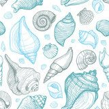 Beach Seashell Pattern. Vector seamless pattern with seashells Styl Marynistyczny Fototapeta