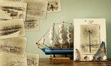 mosaic with old pictures of very Marina with yachts. collage wit Styl Marynistyczny Fototapeta
