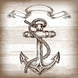 Vintage anchor on wooden background. Hand drawn vector Styl Marynistyczny Fototapeta