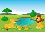 Cartoon lion family near watering hole Fototapety do Przedszkola Fototapeta