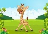 Cute giraffe cartoon with beautiful landscape Fototapety do Przedszkola Fototapeta
