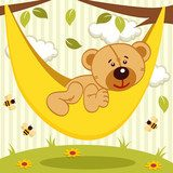 teddy bear on hammock - vector illustration Fototapety do Przedszkola Fototapeta
