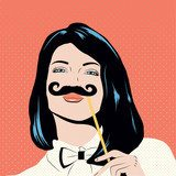 Pop art illustration with girl holding mustache mask. Pin-up Obraz