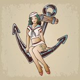 Vintage pinup sailor girl sitting on an anchor Pin-up Obraz