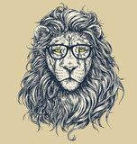Hipster lion vector illustration. Glasses separated.  Zwierzęta Plakat