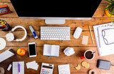 Desk with various gadgets and office supplies. Flat lay Biuro Plakat