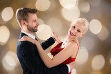 Young Couple Dancing On Bokeh Background Fototapety do Szkoły Tańca Fototapeta