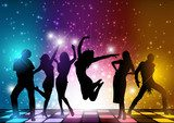 Party People Background - Dancing Silhouettes Illustration, Vector Fototapety do Szkoły Tańca Fototapeta