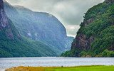 Cloudy rainy mountains and fjord in Norway, Góry Fototapeta
