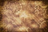 Steampunk grunge background, steam punk elements on dirty back Industrialne Fototapeta