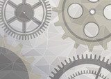 Vector illustration of gear wheel abstract background. Grey transparent banner with clockwork. Poligonal design.  EPS10. Industrialne Fototapeta