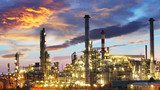 Oil and gas industry - refinery at twilight - factory Industrialne Fototapeta