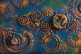 handmade steampunk background mechanical cogs wheels Industrialne Fototapeta