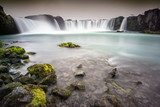 Godafoss, Iceland - Looking up at huge waterfall with rocks in t Wodospad Fototapeta