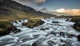 stunning river flow beside the road along iceland Wodospad Fototapeta