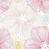 Pink Lace. Seamless pattern. Stylized flowers. Flower background. Bright big bud Fototapety Pastele Fototapeta