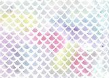 Watercolor fish scale pattern in blue and pink Pastele Fototapeta