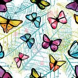 Vector seamless pattern with freehand watercolour butterflies an Pastele Fototapeta