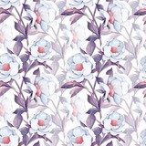 Seamless floral pattern with white flowers. Watercolor painting. Art background 3 Pastele Fototapeta