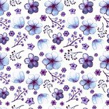 Watercolor Light Blue Flowers and Violet Branches Seamless Pattern Pastele Fototapeta