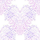 Seamless pattern with floral hearts. Pastele Fototapeta