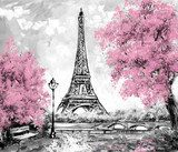 Oil Painting, Paris. european city landscape. France, Wallpaper, eiffel tower. Black, white and pink, Modern art Fototapety Pastele Fototapeta