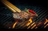 Hot spicy rump steak on a summer barbecue Obrazy do Jadalni Obraz