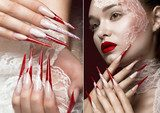 Beautiful girl with lace, red lips and long nails. Beauty face. Photos shot in studio. collage of photos Obrazy do Salonu Kosmetycznego Obraz