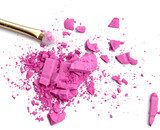 Close up of crushed blush on white background and cosmetic brush Obrazy do Salonu Kosmetycznego Obraz