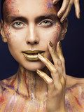 Face Art Color Beauty Makeup, Creative Model Make Up, Woman Fashion Faceart Obrazy do Salonu Kosmetycznego Obraz