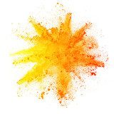 Explosion of colored powder on white background Abstrakcja Obraz
