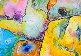 An abstract watercolour painting, suggestive of a map.  Abstrakcja Obraz