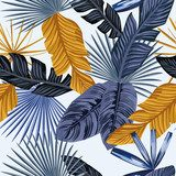 Blue gold palm leaves seamless white background Abstrakcja Obraz