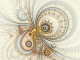 Abstract design of steampunk watch, digital fractal artwork Abstrakcja Obraz