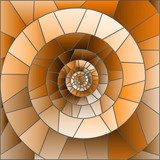 Abstract mosaic image,  tiles arranged in a spiral,brown tone, Sepia Abstrakcja Obraz
