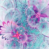 Vivid colorful fractal flowers, digital artwork for creative graphic design Abstrakcja Obraz