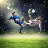 two football players striking the ball  Sport Plakat