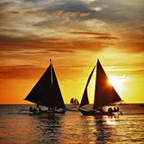 sailing on sunset. Boracay island,Philippines  Sport Plakat