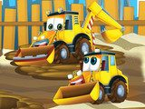 Father and son excavators - illustration for the children  Fototapety do Pokoju Chłopca Fototapeta